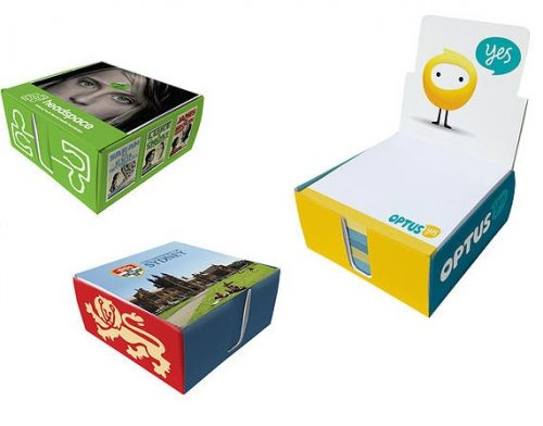 sticky notes in a box