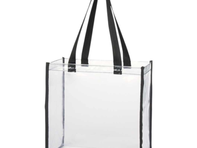 Clear PVC Tote Bag Black