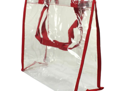 Clear PVC Tote Bag Red