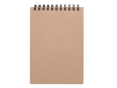 Blank note book paper isolated on white background.